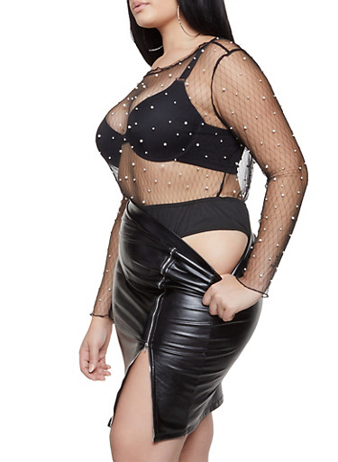 Plus Size Faux Pearl Studded Mesh Bodysuit,BLACK,large