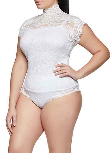 Plus Size Lace Mock Neck Bodysuit,WHITE,large