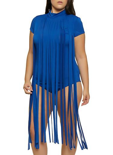 Plus Size Fringe Keyhole Back Bodysuit,RYL BLUE,large