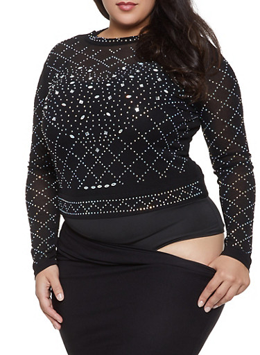 Plus Size Rhinestone Studded Mesh Bodysuit,BLACK,large