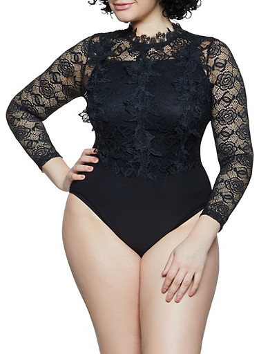 Plus Size Lace Button Back Bodysuit,BLACK,large