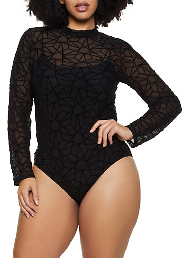 Plus Size Velvet Burnout Mesh Bodysuit,BLACK,large