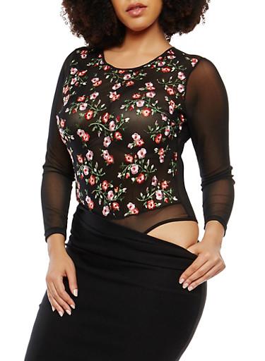 Plus Size Embroidered Mesh Bodysuit,BLACK,large