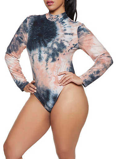 Plus Size Tie Dye Mock Neck Bodysuit,CORAL,large