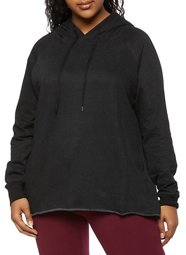 Plus Size Pullover Hooded Top,BLACK,large