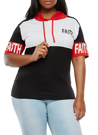 Plus Size Faith Graphic Hooded Top,RED,large