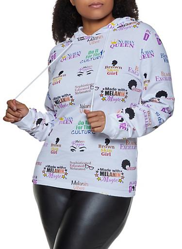 Plus Size Melanin Graphic Sweatshirt,WHITE,large
