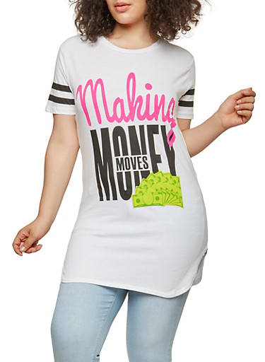 Plus Size Making Money Moves Graphic Tunic Top,WHITE,large