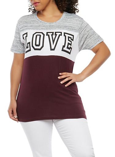 Plus Size Love Grapic T Shirt,PLUM,large