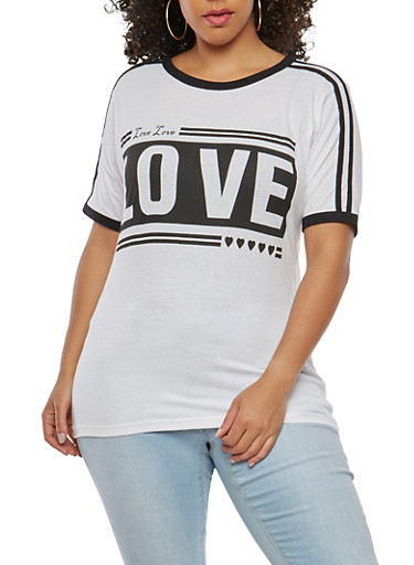 Plus Size Love Graphic T Shirt,WHITE,large