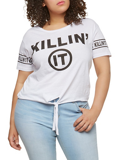 Plus Size Graphic Tie Front T Shirt,WHITE,large