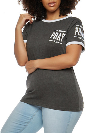 Plus Size Wake Pray Slay Graphic Top,CHARCOAL,large