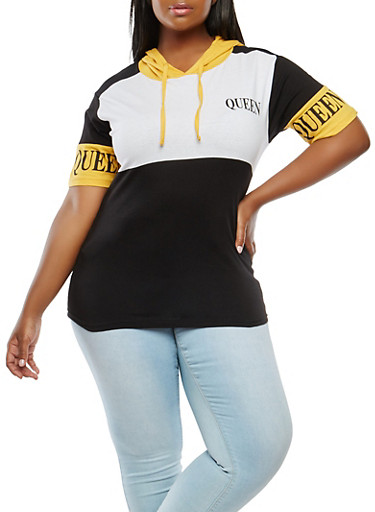 Plus Size Queen Graphic Hooded Top,MUSTARD,large