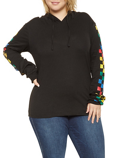 Plus Size Checkered Sleeve Hooded Top,BLACK,large