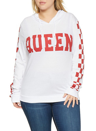 Plus Size Queen Graphic Checkered Sleeve Tee,WHITE,large