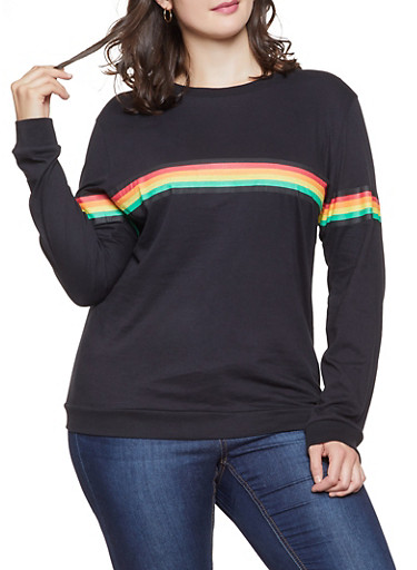 Plus Size Long Sleeve Striped Detail Tee,BLACK,large