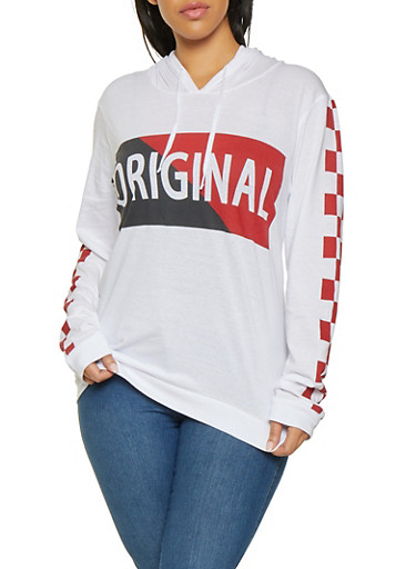 Plus Size Original Graphic Hooded Top,WHITE,large