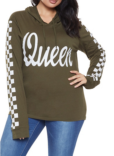 Plus Size Queen Graphic Hooded Top,OLIVE,large