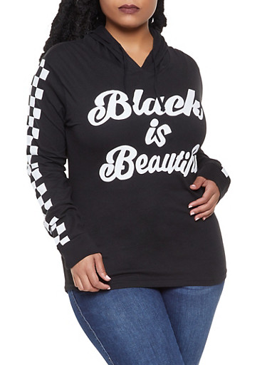 Plus Size Checkered Sleeve Graphic Top,BLACK,large