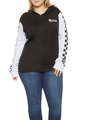 Plus Size Queen Graphic Hooded Top,BLACK,large