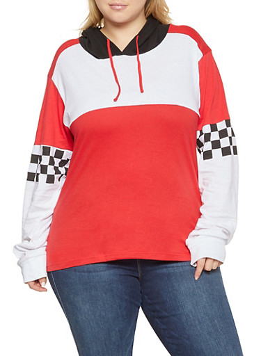 Plus Size Checkered Sleeve Hooded Top,RED,large
