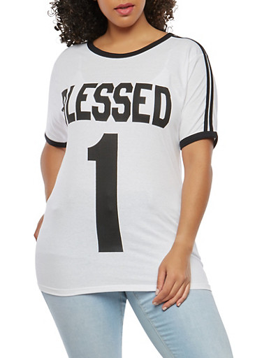 Plus Size Blessed Graphic T Shirt,WHITE,large