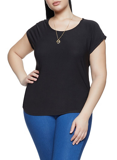 Plus Size Cap Sleeve Top with Necklace,BLACK,large