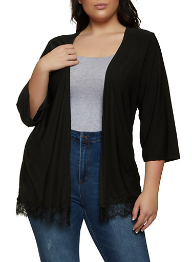 Plus Size Lace Trim Cardigan,BLACK,large