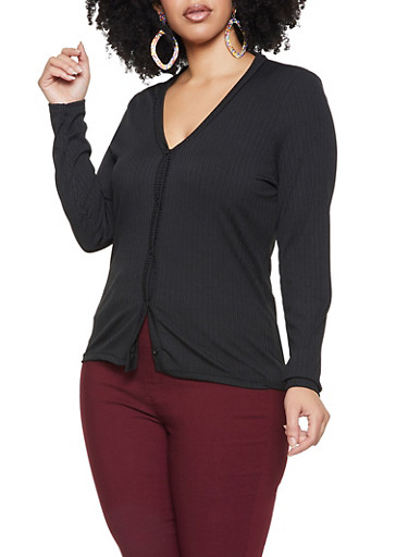 Plus Size Rib Knit Button Front Sweater,BLACK,large
