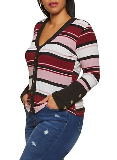 Plus Size Striped Cardigan,MAUVE,large