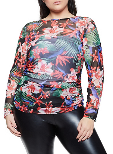 Plus Size Ruched Printed Mesh Top,BLK PTN,large