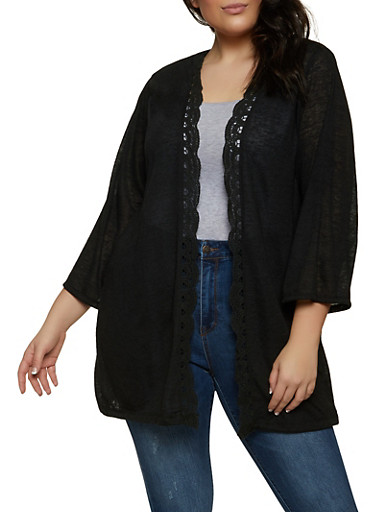 Plus Size Crochet Trim Open Front Cardigan,BLACK,large