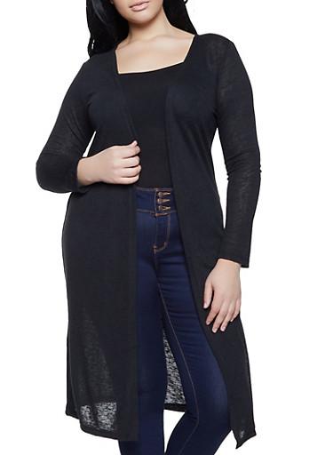 Plus Size Burnout Knit Duster,BLACK,large