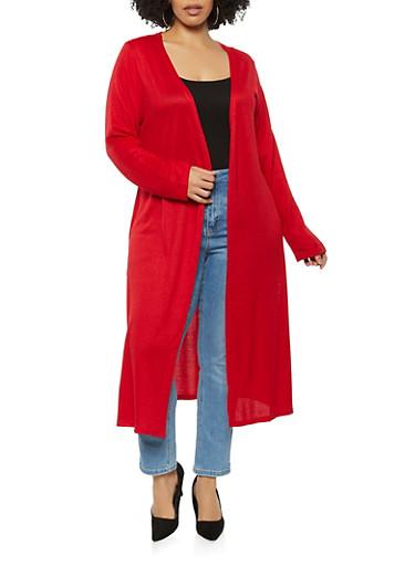 Plus Size Side Slit Soft Knit Duster,RED,large