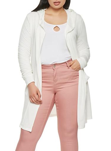 Plus Size Hooded Cardigan,IVORY,large