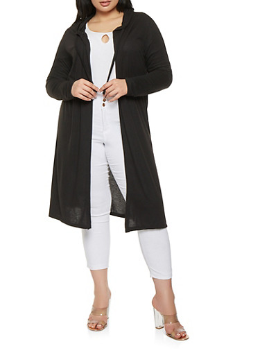 Plus Size Hooded Duster,BLACK,large