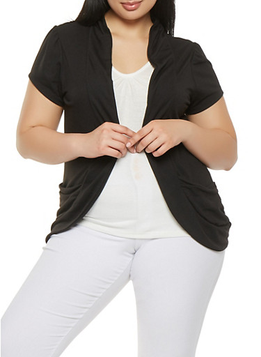 Plus Size Cardigan with Attached Tank Top,BLACK,large