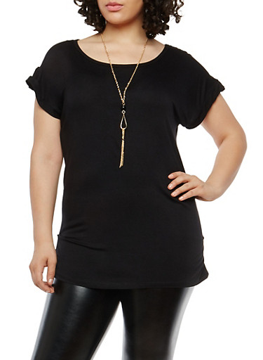 Plus Size Ruched Short Sleeve Top with Necklace,BLACK,large
