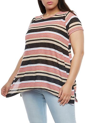 Plus Size Striped Sharkbite Hem T Shirt,BLACK,large