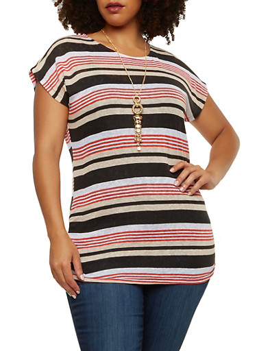 Plus Size Striped Top with Necklace,BLACK,large