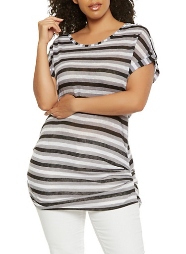 Plus Size Striped Ruched Side Top,BLACK,large
