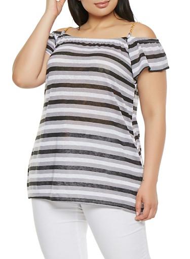Plus Size Striped Off the Shoulder Top,BLACK,large