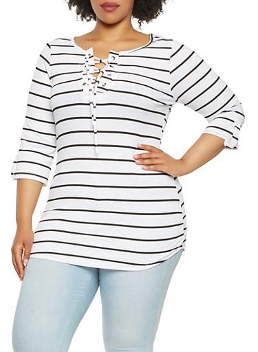 Plus Size Striped Rib Knit Tunic Top,WHITE,large