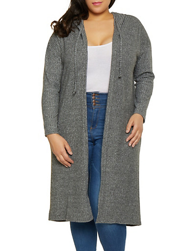 Plus Size Brushed Knit Duster,CHARCOAL,large