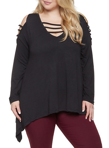Plus Size Caged Asymmetrical Top,BLACK,large