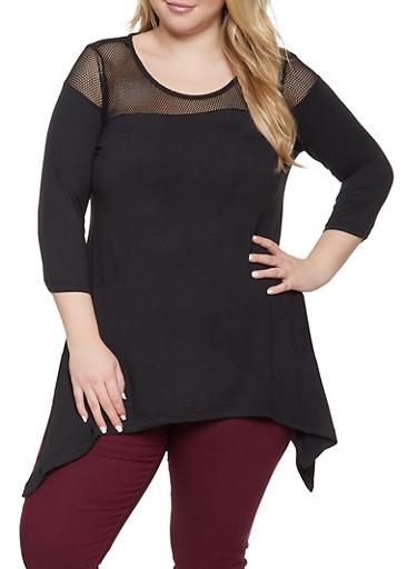 Plus Size Fishnet Yoke Asymmetrical Top,BLACK,large