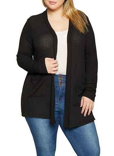 Plus Size Open Front Cardigan,BLACK,large