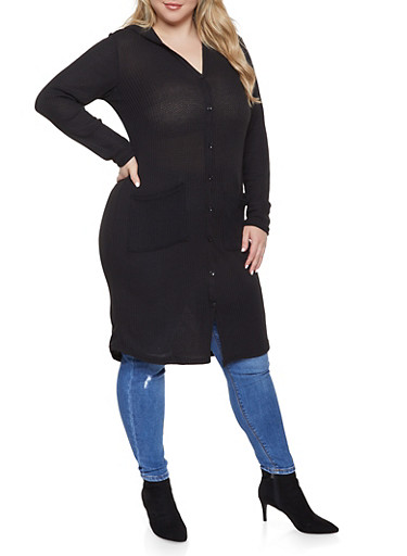 Plus Size Hooded Maxi Top,BLACK,large