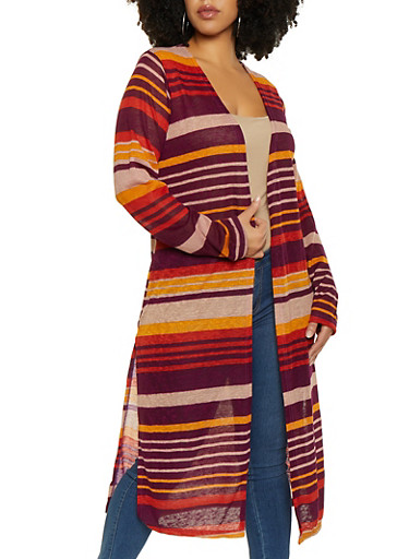Plus Size Striped Duster,MUSTARD,large