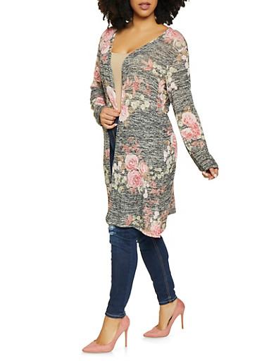 Plus Size Floral Knit Duster,BLACK,large
